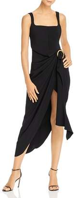 Acler Maine Draped Midi Dress with Ring Detail