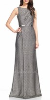 David Meister Metallic Belted Sleeveless Evening Dress