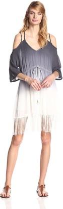 LAmade Women's Ombre Dip Dye Cold Shoulder Dress with Waist Tie