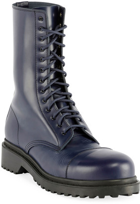Balenciaga Men's Leather Combat Boots