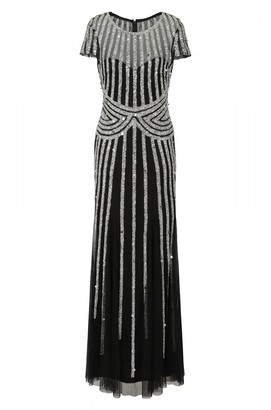 Frock and Frill Helma Black and Silver Stripe Embellished Maxi Dress