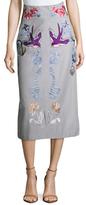 Temperley London Cotton Sailor Embroidered Midi Skirt