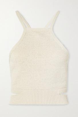 Cult Gaia Nan Open-back Cotton-blend Halterneck Top - Beige