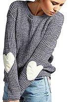 K&S KS Kindstore Womens Crew Neck Long Heart Sleeve Loose Sweater Knitwear Jumpers Tops