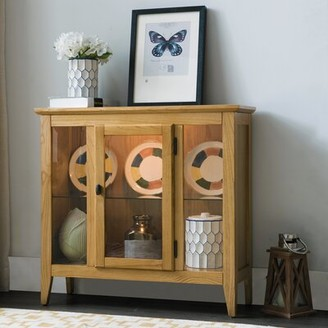 Gilboa Entryway Lighted Display Stand Charlton Home Color: Natural Oak