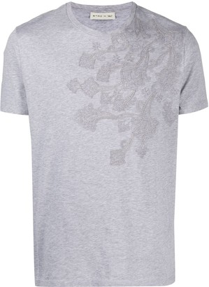 Etro paisley-embroidered cotton T-shirt