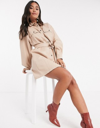 ASOS DESIGN leather-look button-through mini shirt dress with belt in stone