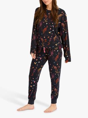 Chelsea Peers Cosmic Animal Print Pyjama Set, Multi