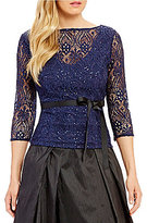 Alex Evenings 3/4 Sleeve Illusion Belted Blouse