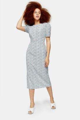 Glamorous Womens **Blue And White Ditsy Floral Midi Dress By Blue