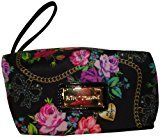 Betsey Johnson Women's Box Wristlet Cosmetic, Small, Bow Dangles Black