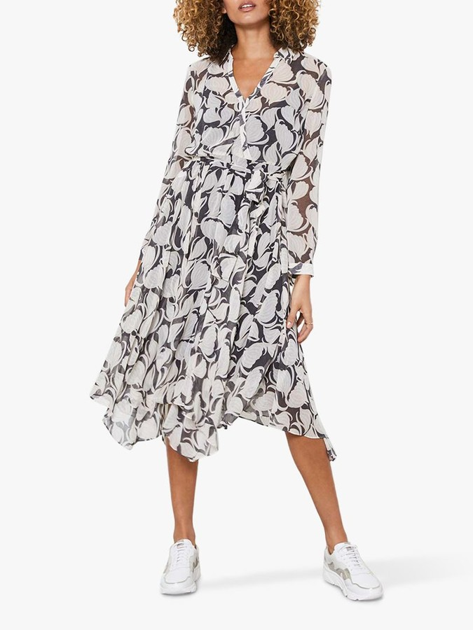 Mint Velvet Olivia Geometric Print Midi Shirt Dress, Ivory