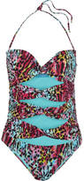 Matthew Williamson Akita Leopard-print Cutout Swimsuit - Blue