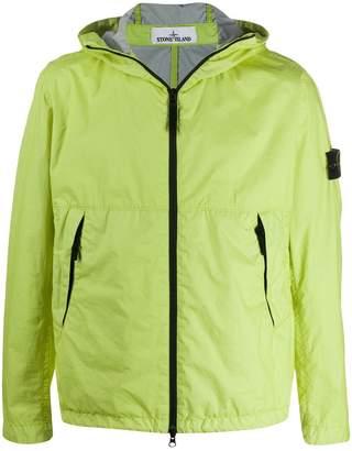 Stone Island hooded zipped rain jacket