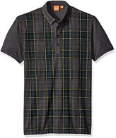 HUGO BOSS BOSS Orange Men's Presly Printed Tartan Check Polo Shirt