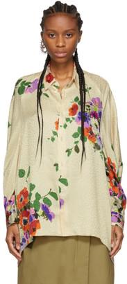 Junya Watanabe Off-White Silk Jacquard Floral Shirt