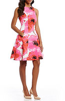 Maggy London Poppy-Stem Printed Fit And Flare Dress