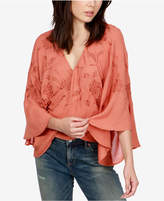 Lucky Brand Embroidered Wrap Top