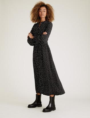Marks and Spencer Polka Dot Belted Midaxi Shirt Dress