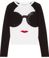 Alice + Olivia Stace Face Embellished Intarsia Stretch-wool Sweater - White