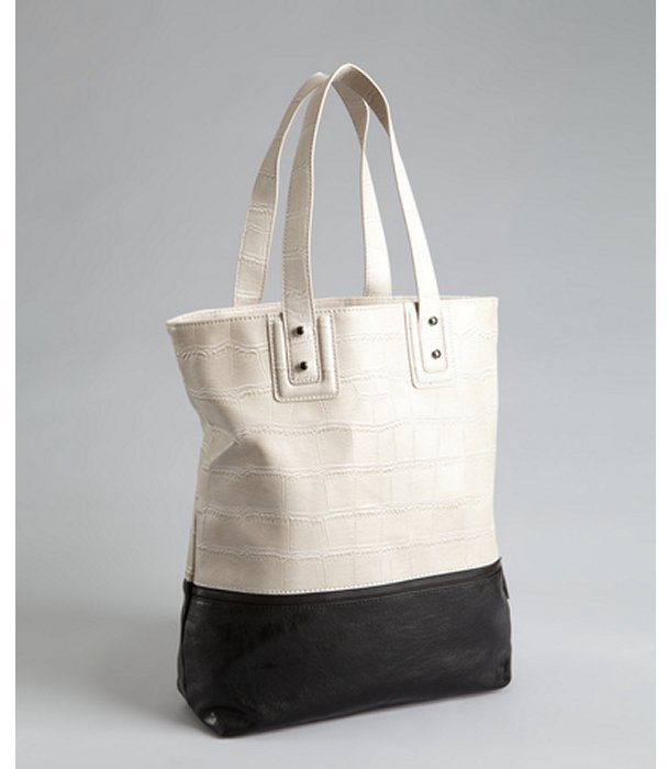 BCBGeneration grey and black croc embossed faux leather shopper tote