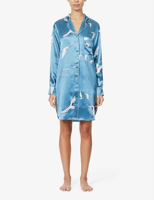 Olivia von Halle Poppy bird-print silk-satin nightshirt