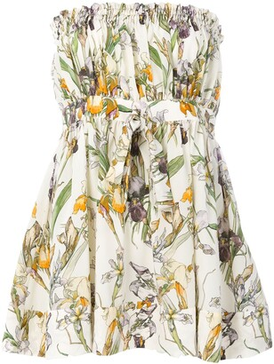 Alexander McQueen Flared Floral Bandeau Top