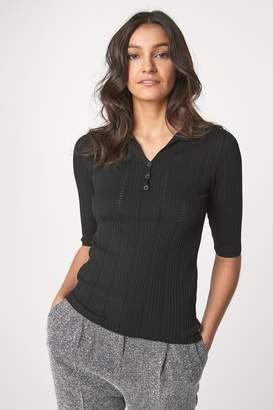 Next Womens Black Stitch Polo Jumper - Black
