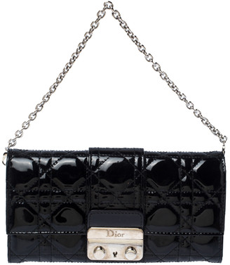 Christian Dior Black Patent Leather Miss Chain Clutch