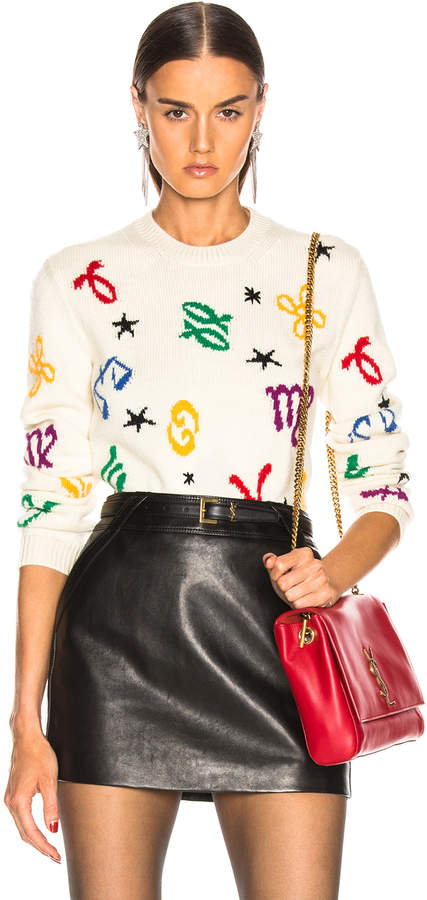 Saint Laurent Zodiac Sweater in Natural & Multicolor | FWRD
