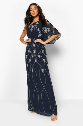 boohoo Bridesmaid Hand Embellished One Shoulder Cape Maxi