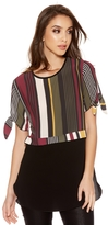Quiz Khaki Berry And Mustard Stripe Crepe Top