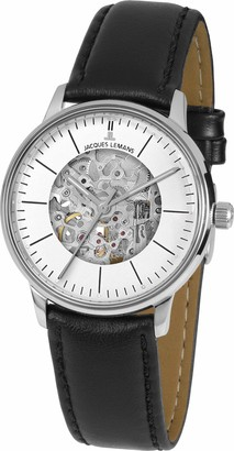 Jacques Lemans Unisex Adult Skeleton Mechanical Watch with Leather Strap N-207ZA
