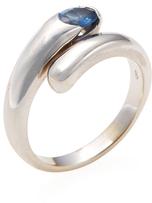 Bulgari Vintage 18K White Gold & Blue Sapphire Bypass Ring