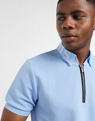 Mauvais rib polo with branded collar in blue