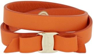 Salvatore Ferragamo Vara Double Wrap Leather Bow Bracelet