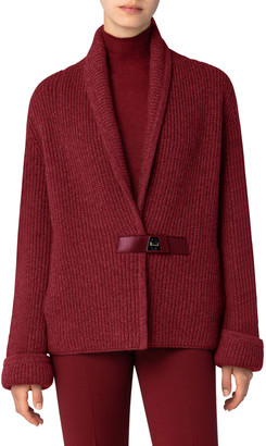 Akris Chunky Shawl-Collar Cardigan with Leather Closure