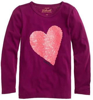 J.Crew Girls' long-sleeve sequin heart tee