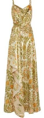 Oscar de la Renta Metallic Printed Silk-blend Crepe De Chine Gown