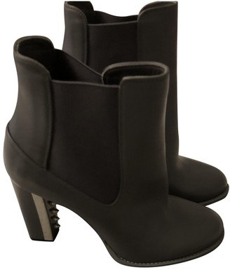 Alexander McQueen Grey Leather Ankle boots