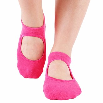 Musheng Socks Musheng Womens Socks Women Non Slip Skid Pilates Yoga Socks Dance Mat Massage Socks Best Fitness Dance Pilates Ballet Barre Sports Socks Full Toe Ankle Fall Prevention Grip Socks (D)