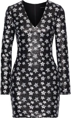 Black Halo Alicia Sequined Tulle Mini Dress