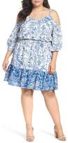 Eliza J Cold Shoulder Blouson Dress (Plus Size)