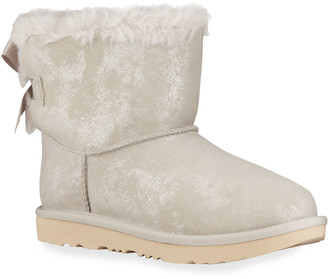 UGG Girl's Mini Bailey Bow II Metallic Suede Boots, Kids
