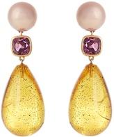 BRIGID BLANCO Pearl, tourmaline, amber & yellow-gold earrings