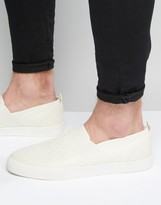 Asos Slip On Sneakers in White Weave With Elastic