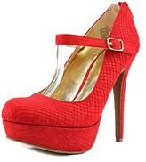Material Girl Koko Women Open Toe Canvas Red Platform Heel.