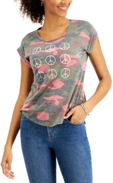 Style&Co. Style & Co Petite Peace-Graphic Printed T-Shirt, Created for Macy's