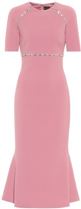 David Koma Crystal-embellished cady midi dress
