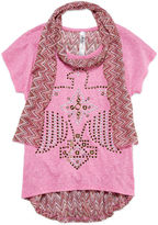 Beautees High-Low Short-Sleeve Top with Heat Seal Graphic and Chevron Back and Chevron Scarf - Girls 7-16